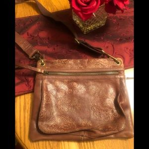 Fossil embossed brown leather crossbody